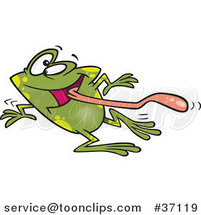 Cartoon Dizzy Frog Having Fun on Dance Day by Ron Leishman