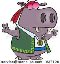 Cartoon Purple Hippie Hippo Gesturing Peace by Ron Leishman