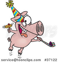 Cartoon New Year Party Pig by Ron Leishman