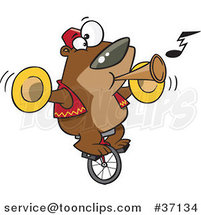 Cartoon Stunt Bear Playing Music and Riding a Unicycle by Ron Leishman