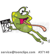 Cartoon Leap Day Frog Jumping with a February 29th Calendar by Ron Leishman