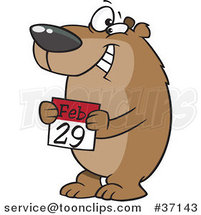 Cartoon Smiling Leap Day Bear Holding a February 29th Calendar by Ron Leishman