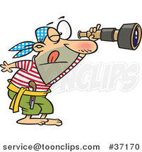 Cartoon Pirate Spying Through a Telescope by Ron Leishman