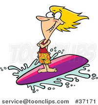 Cartoon Blond Surfer Girl Riding a Wave by Ron Leishman