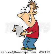 Cartoon Young Guy Using a Computer Tablet by Ron Leishman