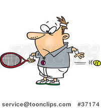 Cartoon Guy Watching a Fast Tennis Ball Fly Through His Belly by Ron Leishman