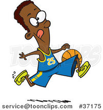 Cartoon Black Basketball Player Dribbling the Ball by Ron Leishman