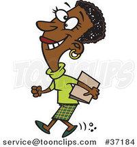 Cartoon Happy Black Business Woman off to a Meeting by Ron Leishman
