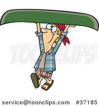 Cartoon Happy Guy Carrying a Canoe over His Head by Ron Leishman