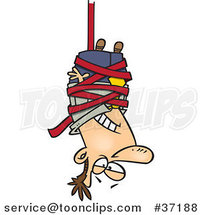 Cartoon Business Man Caught Hanging Upside down in Red Tape Formalities by Ron Leishman