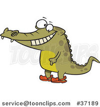 Cartoon Happy Crocodile Standing Upright and Wearing Crocs on His Feet by Ron Leishman