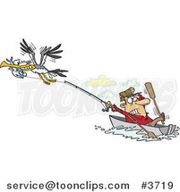 Cartoon Bad Gull Stealing a Fish from a Fisher Man by Ron Leishman