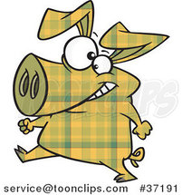 Cartoon Happy Yellow Plaid Pig Walking Upright by Ron Leishman
