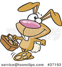 Cartoon Happy Brown Easter Bunny Carrying a Basket of Eggs by Ron Leishman