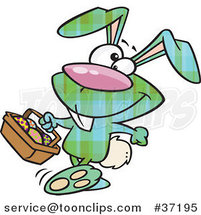 Cartoon Happy Green Plaid Easter Bunny Carrying a Basket of Eggs by Ron Leishman