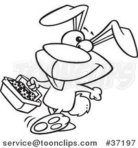 Cartoon Outlined Happy Easter Bunny Carrying a Basket of Eggs by Ron Leishman