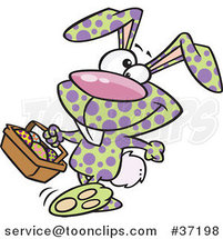 Cartoon Happy Speckled Easter Bunny Carrying a Basket of Eggs by Ron Leishman