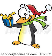 Cartoon Christmas Penguin Giving a Present by Toonaday