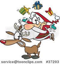 Cartoon Christmas Santa Juggling Gifts on a Reindeer by Toonaday