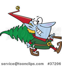 Cartoon Christmas Elf Carrying a Tree by Toonaday