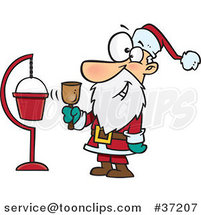 Cartoon Santa Ringing a Bell by a Donation Cup by Toonaday