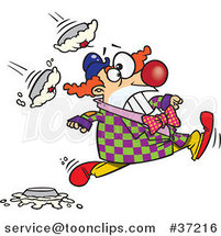 Cartoon Clown Running from Pies by Ron Leishman