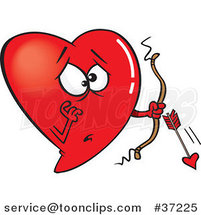 Cartoon Red Heart Cupid with a Broken Arrow by Ron Leishman