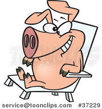 Cartoon Hog Relaxing in a Chair on Pig Day by Ron Leishman