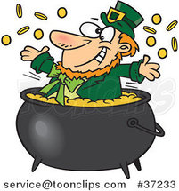 Cartoon St Patricks Leprechaun Playing in a Pot of Gold by Ron Leishman