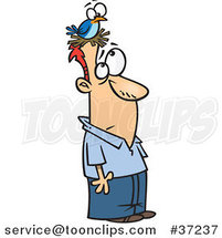 Cartoon Guy with a Bird Nesting on His Head by Ron Leishman
