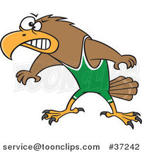 Cartoon Wrestler Hawk Ready to Fight by Ron Leishman