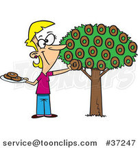 Cartoon Happy Lady Picking Donuts from a Tree by Ron Leishman