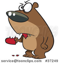 Cartoon Angry Bear Eating a Heart by Ron Leishman