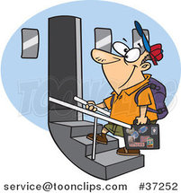 Cartoon Tourist Guy Boarding an Airplane by Ron Leishman