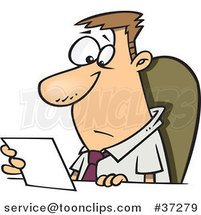 Cartoon Business Man Seated at a Desk and Reading a Memo by Toonaday