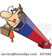 Cartoon Business Man Holding His Briefcase and Prepared for Take off in a Cannon by Ron Leishman