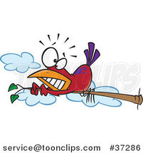 Cartoon Red Bird Scared of Heights Hugging a Tree Branch by Ron Leishman