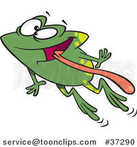 Cartoon Green Happy Frog Leaping with His Tongue Hanging out by Ron Leishman