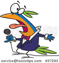 Cartoon Vocal Singing Bird Holding a Microphone by Ron Leishman