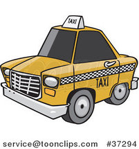 Cartoon City Taxi Cab by Ron Leishman
