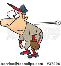 Cartoon Slow Reacting Baseball Player Ignoring the Ball by Ron Leishman