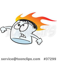 Cartoon Stressed Flaming Marshmallow by Ron Leishman