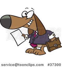 Cartoon Legal Beagle Attorney Lawyer Dog Holding a Document by Ron Leishman