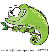 Happy Cartoon Green Spotted Chameleon Lizard by Ron Leishman