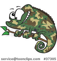 Happy Cartoon Green Chameleon Lizard with Camouflage Patterns by Ron Leishman
