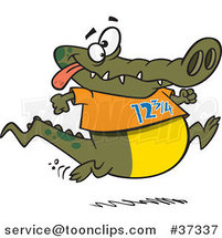 Cartoon Jogging Alligator by Ron Leishman