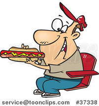 Cartoon Sports Fan Guy Eating a Hot Dog During a Game by Toonaday