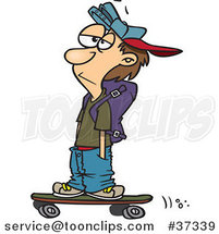Cartoon Teenage Skater Boy with His Hands in His Pockets by Ron Leishman
