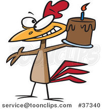Cartoon Happy Chicken Holding a Birthday Cake by Toonaday
