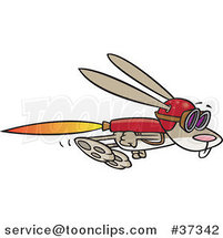 Cartoon Rabbit Flying with a Rocket Jet Pack by Ron Leishman